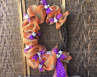 Clemson Grapevine Wreath