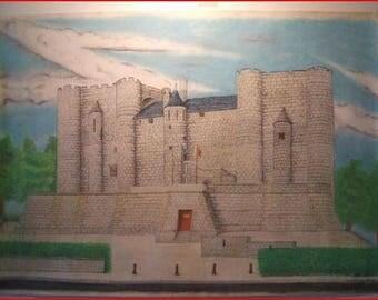 'Niort Dungeon' pastel on canson paper