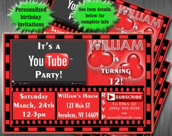 Yotutube 2017 youtubers poster youtube birthday party invitations printable invitation youtubers youtube birthday party youtube party stopboris Image collections