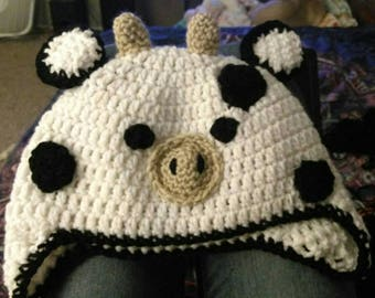 Cute Crochet Cow Earflap Hat for Winter Handmade Farm Animal Moo