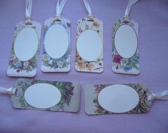 Set of 6 hand made tags with with medallions - satin ribbons