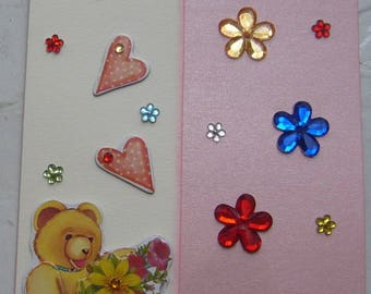 Card for children made 3-d hand double metallic pink background matching envelope