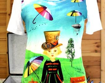 t-shirt sleeve short or long steampunk umbrella