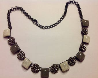 Trendy grey and white stones and rhinestone necklace