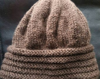 Hand knit Brown women Hat
