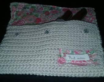 lovely knitted case and floral fabrics