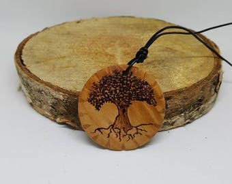 Tree of life, carved, wooden pendant, pyrography, woodburning, all natural, jewelry, necklace, wood, nature