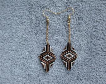 boucles d'oreilles pendantes / boucles d'oreilles miyuki / boucles d'oreilles losange/ perles japonaises / tissage perles / perles miyukis