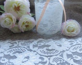 large 8 cm ivory lace flower motifs