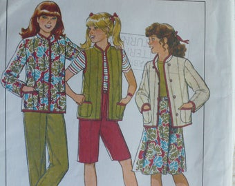 Girls Jacket, Vest, Pants, Shorts and Skirt Pattern - Vintage Style 3623 - Sizes 7-12