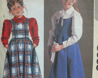 Girls Jumper and Blouse Sewing Pattern - Vintage McCalls 8653 (circa 1983) - Size 7