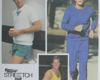 Men's Top, Tank Top, Sweatpants, Shorts Sewing Pattern - Vintage Simplicity Pattern 9414 - Sizes 38-42