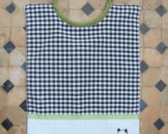 Panda embroidered black gingham bib