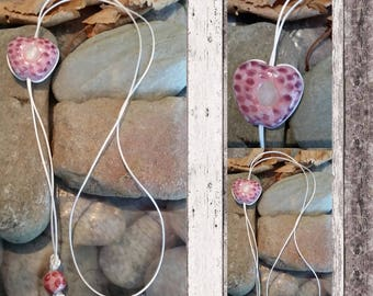 Pink spotted clay heart pendant