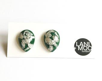 Teardrop Green Resin Stud Metallic Silver Leaf Statement Earrings!