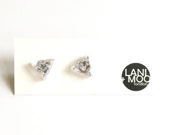 Triangle Clear Resin Stud Metallic Silver Leaf Statement Earrings!