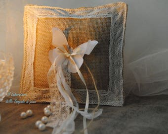 Shabby-chic style wedding ring cushion