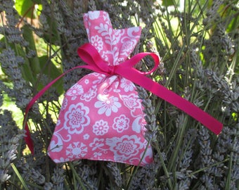 Pink and white Lavender filled sachet bag