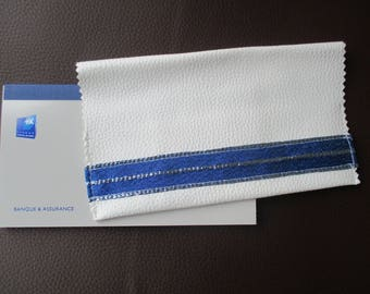checkbook in imitation White leather and Silver Blue rublan, mothers day gift