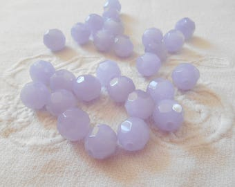 A set of 6 beads 12 mm violet purple Bohemian crystal.