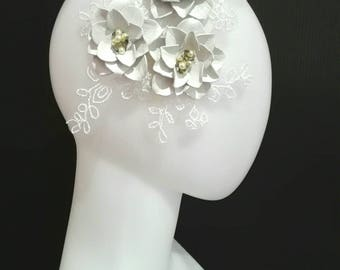 Bridal Headpiece - Leather White Flowers