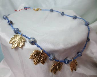 Fashion woman necklace gold leaf