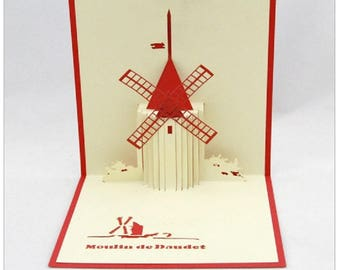 Handmade origami paper craft 3D popup pop up French windmill birthday greeting mothers day father's day Valentines day card gift for her him