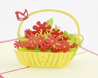 Handmade 3D pop up popup card flower basket butterfly birthday Valentines mother's day Easter wedding party garden invitation gift for her