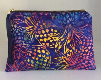 New! Batik Beauties /Pineapples /Clutch/Cosmetic Purse/Gift  idea for Teenagers/ Travel Purse/ Toiletries/ Robert Kaufman designs
