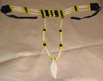 Native American 3 Strand Yellow & Black Choker W/ Drop Down