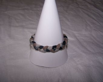 Bracelet with Jersey and silver nuts, black and brown tones