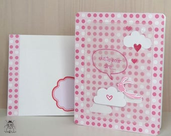 Set of 4 hand made greeting cards all occasion to give + reusable paper case