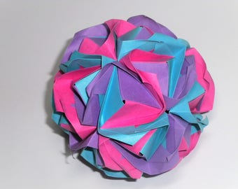 Clover Kusudama Modular Origami Ball Purple Pink Blue Decoration Ornament