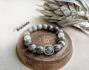A bracelet with natural stone beads labradorite, Jasper, Rhinestone 10mm and silver 925