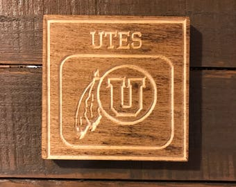 Utah Utes - Wooden  Coasters - Custom Carved Name - Set of 4