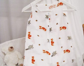 6-12 months J02 - Summer sleeping bag pattern foxes fabric cloth diaper