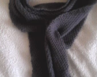 Dark grey worsted wool scarf