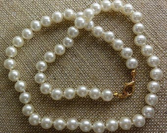 "VTG Classic Necklace 19"" Knotted Faux Pearls+Gold Tone Clasp Quality Strand ET4839"