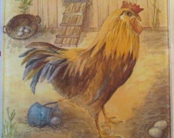 """trivet decorated glass """"Rooster"""""""