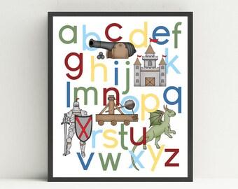 Knight Alphabet Poster, nursery art, kids wall art,  ABC print, castle, knight, dragon, medieval decor, Choose your colors