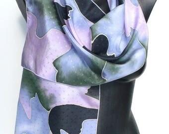 Handpainted silk scarf - scarf - unique taffeta - dark blue, dark green