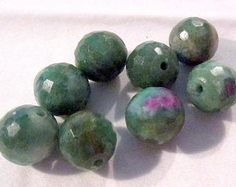 Ruby Fuchsite - ref6697 - drilled - faceted - 9mm - 8 x - €7.99