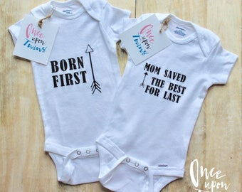 Twin Onesie Set, Born First and Mom Saved the Best for Last, Bodysuit set, Onesie Set, Brother and Sister