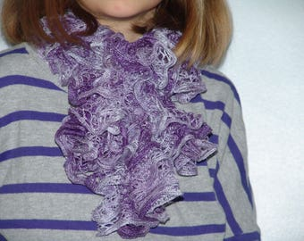 Scarf froufrou in shades of purple accented with silver highlights