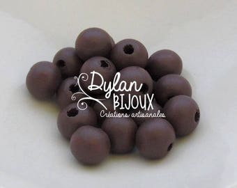 20 10 mm Brown wooden beads