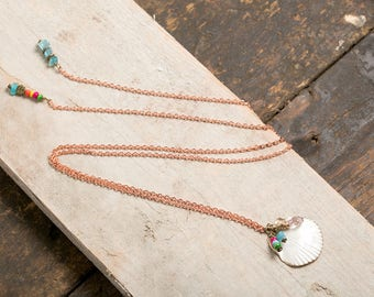 Boho Beach style shell and blue cat eye - recycled copper - Lariat Necklace