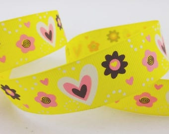 Yellow hearts and flowers (x 1 meter) polyester Ribbon
