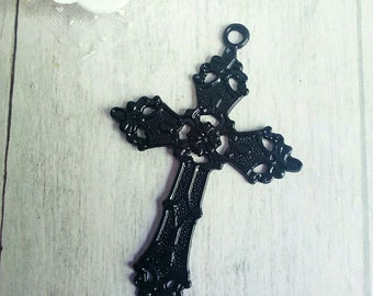 1 carved black metal cross pendant