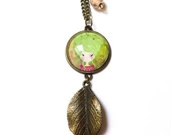 Collier pendentif cabochon *Poline nature* en bronze, collier cabochon, sautoir avec motif nature, apprêt, breloque et perle