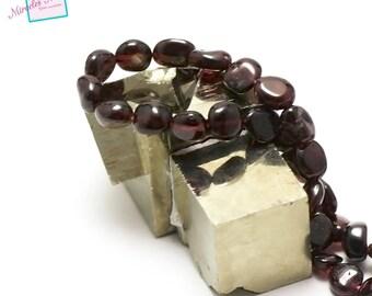 "Garnet beads 6 ""mini baroque Pebble"", natural stone"